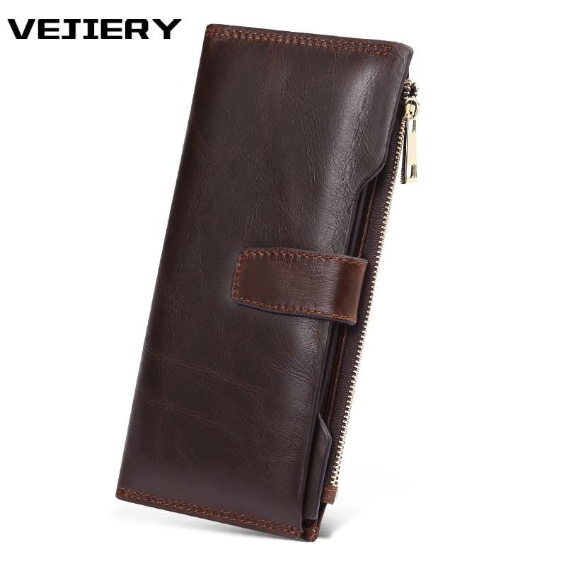 VEJIERY Genuine Crazy Horse Cowhide Leather Men Wallet Long Coin Purse Vintage Wallet Male Clutch Leather