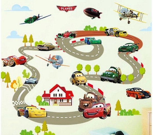 hot sale cartoon highway track car wall stickers home decoration sticker for kids room wall