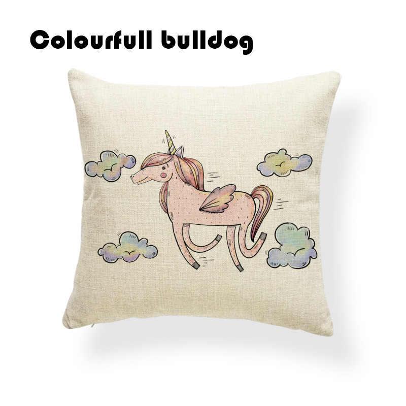 Розовый Единорог Подушка красный высокие каблуки радуги подушки природы кресло Юбилей подарок для пар бросить наволочки 18X18 лен