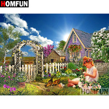 HOMFUN 5D DIY Diamond Painting Full Square/Round Drill Garden girl Embroidery Cross Stitch gift Home Decor Gift A09271 homfun full square round drill 5d diy diamond painting garden