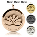 Lotus 20mm, 25mm, 30mm Stainless Steel Essential Oils Aromatherapy Locket Perfume Diffuser Fashion Necklace Jewelry for Woman