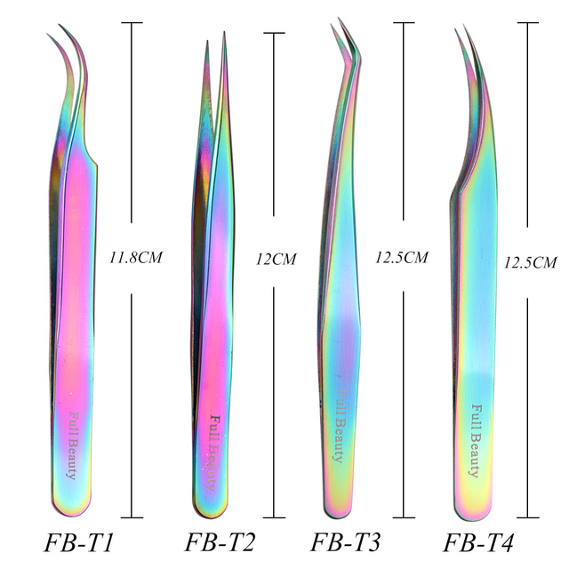 1pcs Curved Straight Tweezers Rainbow Eyelash Extension Nails Decor Picker Dead Skin Remover Manicure Makeup Nail Tools JIFBT1-4 1