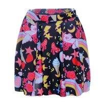 מכירת נשים חמה קפלים מתוקה חצאית קשת מודפסת סקסי אלסטיים מותן גבירותיי חצאית מיני חצאית מזדמן קצר דק