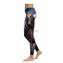 AMERICAN PRIDE REAGAN LEGGINGS Compression 3D Print 2017 New Women Pants Fashion Straight Elastic Waistband