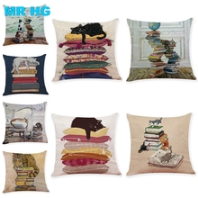 45x45cm Pillow Case Cute Cat printing Pillowcase linen One side Sofa Car Home Decorative Throw  pillow Cover Cojines