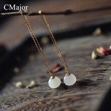 CMajor Delicate Handmade Lotus Natural Stone Earrings Retro Silver Drop Earrings Ear Wire Long Line Chain Fashion Fine Earring