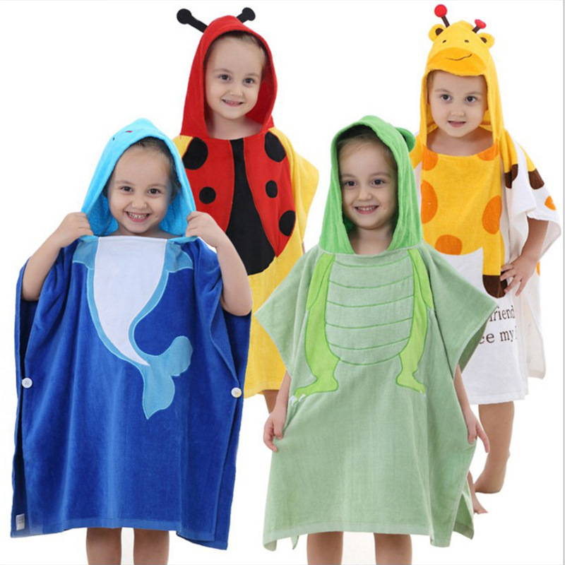 ФОТО Children's new bathrobe Cute Baby Super Soft Cotton Hooded Cloak towels increase of water