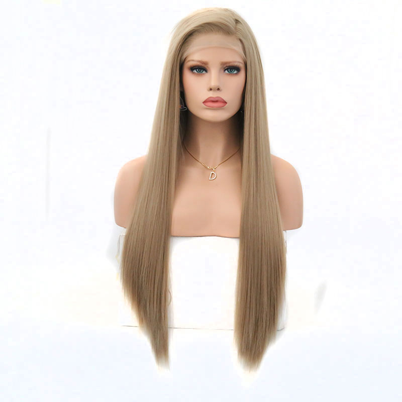 Bombsell Long Straight Blonde Synthetic Lace Front Wig Natural Hairline Heat Resistant Fiber Free Parting For
