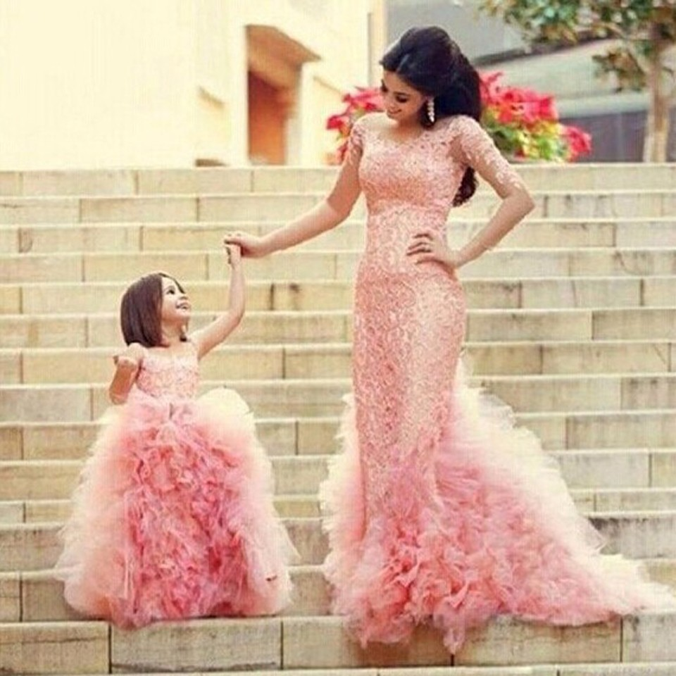 Pink 2019 Flower Girl Dresses For Weddings Ball Gown Tulle Lace Ruffles Baby Long First Communion Dresses For Little Girls
