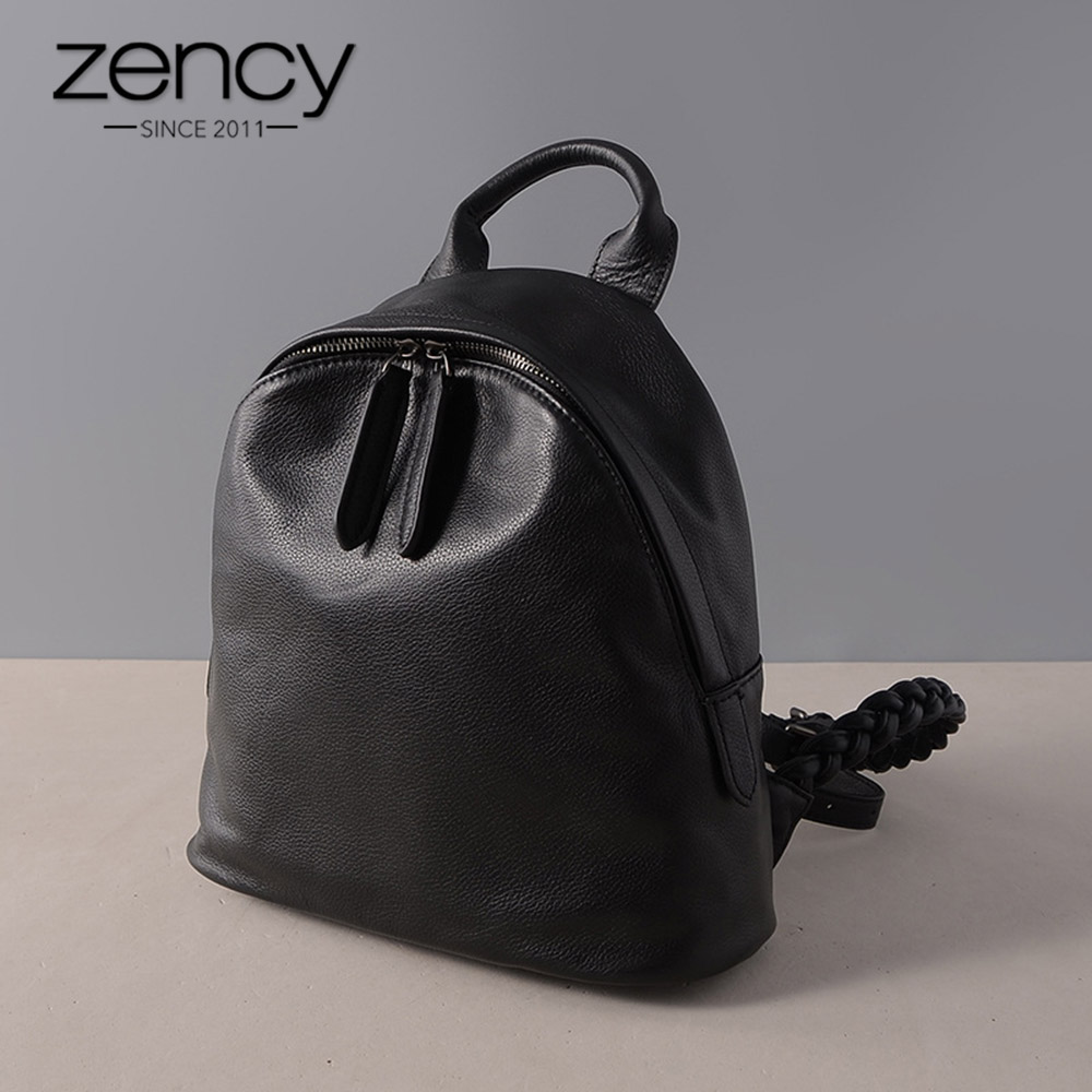 Zency 100% Genuine Leather Black Women Backpack Preppy Style Schoolbag For Girls Fashion iPad Knapsack Travel Bags Small Satchel preppy style drawstring and canvas design satchel for women