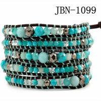 hot vintage Style weaving leather men bracelet african jewelry 4mm 6mm 8mm bead beads bracelet,adjusted size JBN-1099