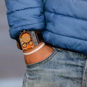 Image 5 - Montres homme Oulm montre Quartz décontractée bracelet en cuir montre bracelet sport homme multi fuseau horaire militaire montre homme horloge relogios