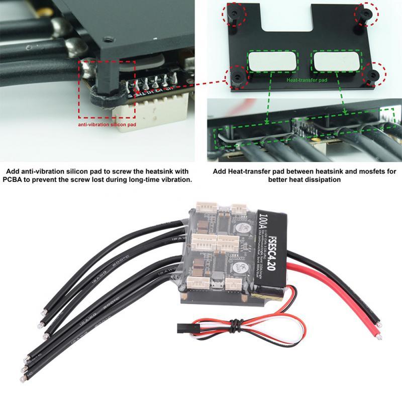 Nuovo Arrivo RC Accessorio Dual ESC 4.20 100A 3-13 s Regolatore di Velocità Elettronico Con Lega di Alluminio del Dissipatore di Calore