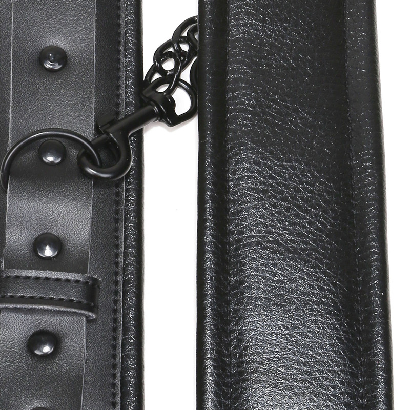High Quality hand cuffs Genuine leather black ankle bondage metal bdsm fetish sm toys Restrains adult games sex toys for couples in Adult Games from Beauty Health