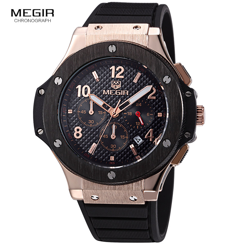 MEGIR hot casual quartz watches men fashion waterproof sport running watch for man chronograph cycling wristwatch for male 3002G megir 2017 fashion creative sport waterproof quartz watch men casual leather brand wristwatch luminous stop wristwatch for male