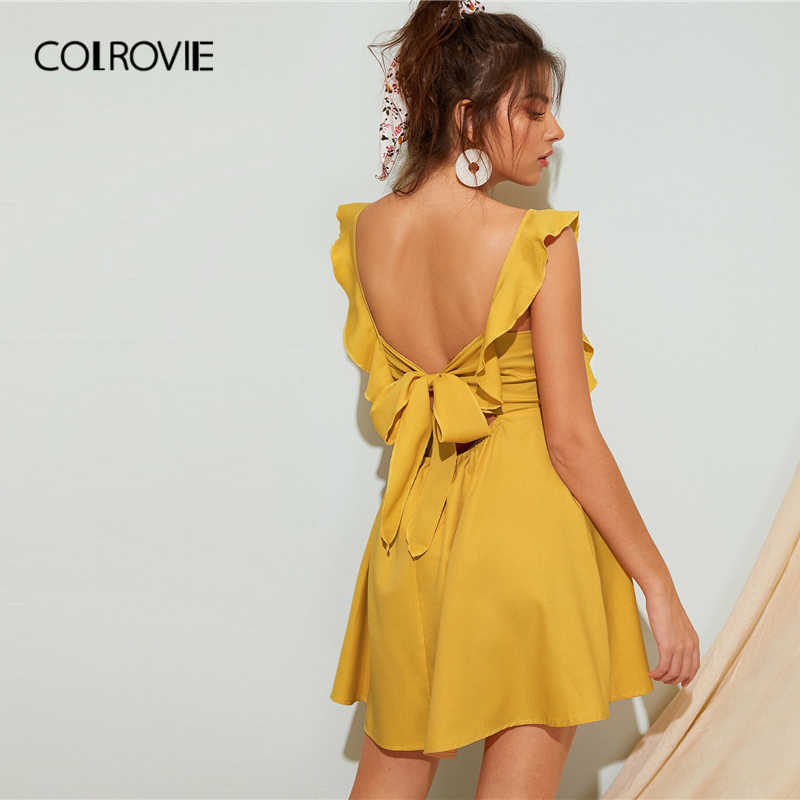 COLROVIE Yellow Square Neck Ruffle Tie Back Boho Dress Women 2019 Summer Cap Sleeve Backless Holiday Party Mini Sexy Dresses