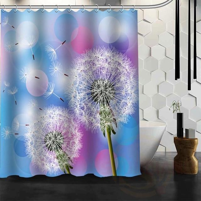Best Nice Custom Dandelion Shower Curtain Bath Waterproof Fabric For Bathroom MORE SIZE WJY