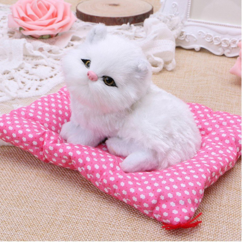 Simulation Animal Doll Plush Cats Car Interior Decoration Ornaments Kitten Toys Vivid Cat Toy with Sound home decor Ornaments