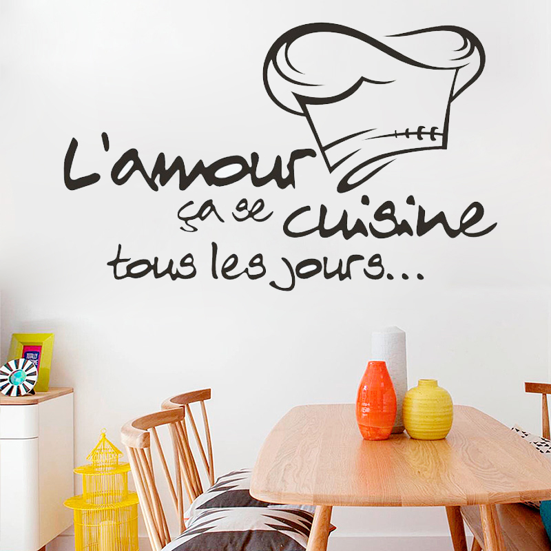 Vinyl mural cuisine french stickers le chef cuisine vinyl for Decor mural adhesif