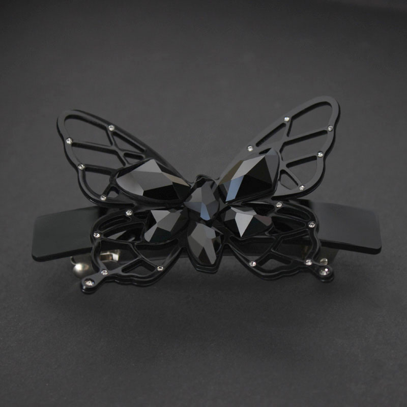 New Alexander Acetate Cellulose Crystal butterfly Wedding Hair Accessories Jewelry Ornament Barrette Tiara Pin Clip for women handmade gray faux leather hair barrette wood stick pin
