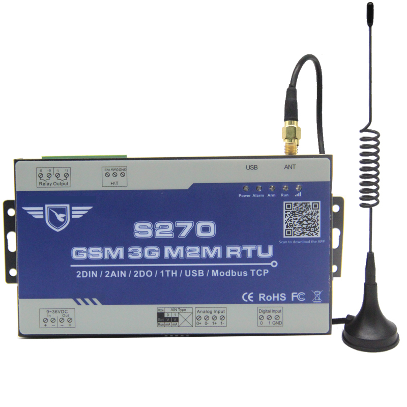 Wireless GSM Telemetry Remote Control 3G S270 GPRS 200 Record SCADA SMS Alarm 2 DIN+2AIN +2DO RTOS System Temperature Monitor s265 direct factory gsm sms gprs 3g 4g temperature
