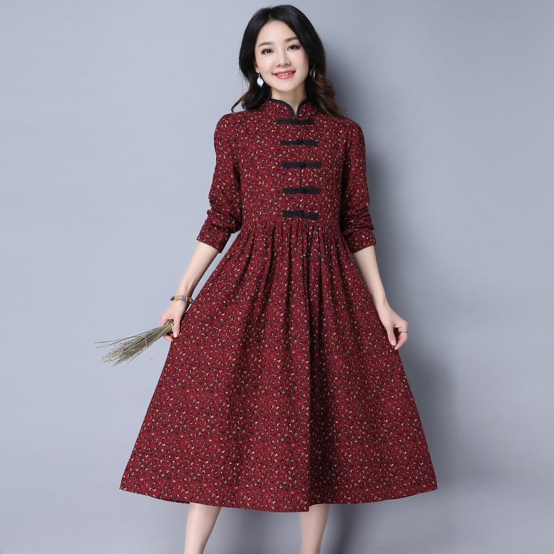 Linen Vintage Long Maternity Dresses Clothes For Pregnant Women Clothing Chinese Style Fl Print Plus Size Dress Ce467 In From Mother Kids On