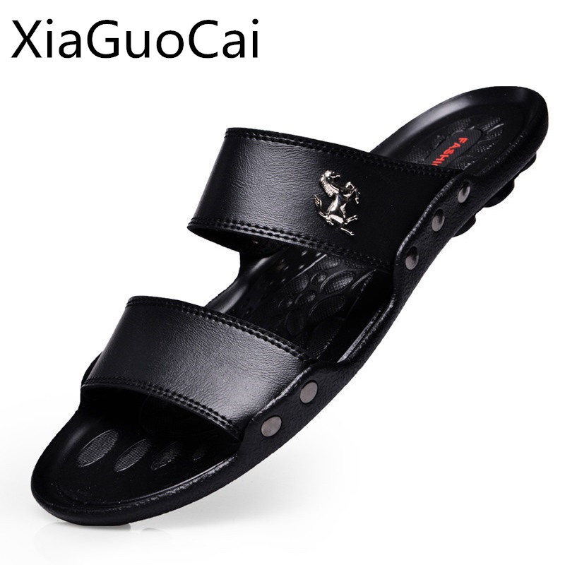 American Made Brand Men Sandals Slip-on Pu Leather Beach Mens Slippers Platform Black Male Sandals Rubber Shoes Drop Shipping 35