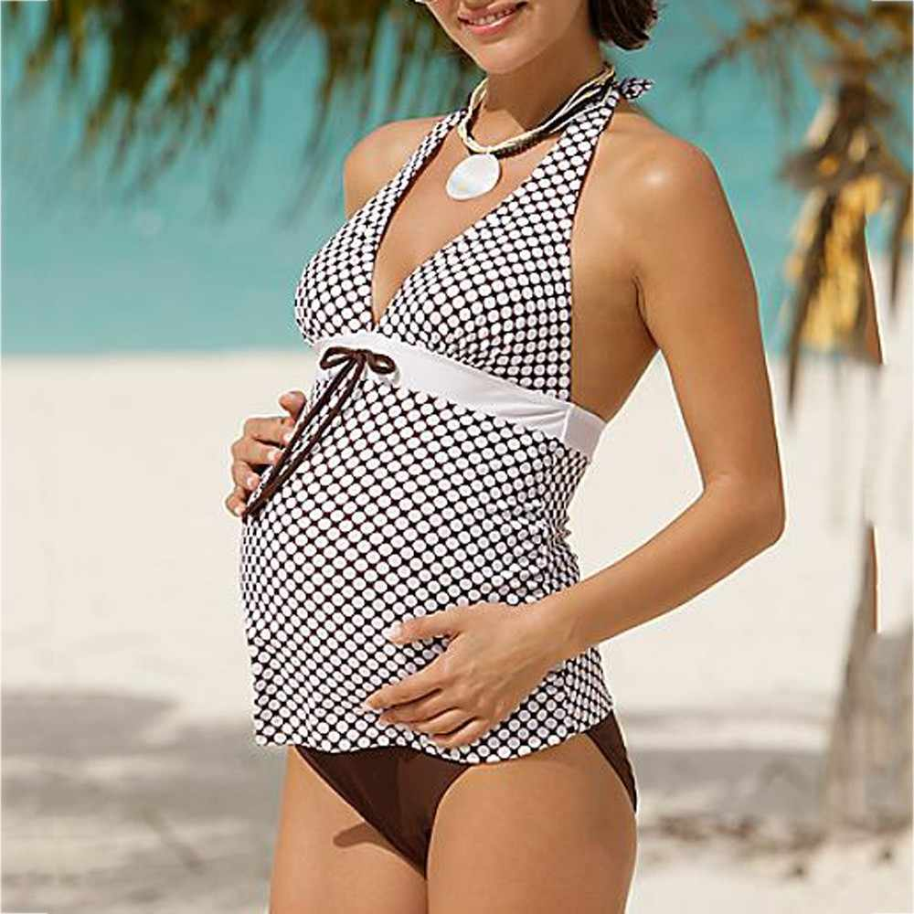 625d88091e7e8 MUQGEW 2018 Sexy Maternity Tankinis Swimwear Women Striped Printed Bikinis  Swimsuit Beachwear Pregnant Suit Bikini Bathing