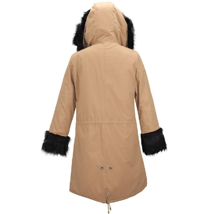 Vers Parka Veste Green Le Chaud Abrigos Femmes Femelle army D'hiver Manteau Noir Mujer kaki Outwear Coton 2017 Fourrure Nouveau De Long Épaisse À Grand Bas Ouatée Capuchon CRqtAA