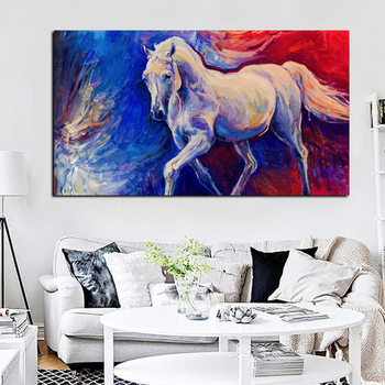 White Horse Abstract Painting Printed on Canvas 2