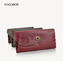 Genuine Leather Cowhide Leather Wallets For Men or Women Embossed Purse With Card Holder Vintage Long Wallet Clutch Wrist Bag