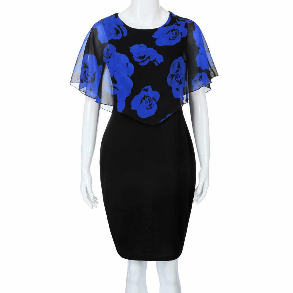 2019 New Arrived Sexy Dress Fashion Womens Casual  Rose Print Chiffon O-Neck Ruffles Mini Dress Blue Red Pink Plus Size