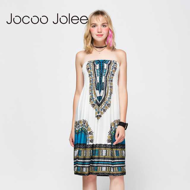 9ee348ff99a Jocoo Jolee Women Knee Length Dresses Sexy Strapless Backless Bohemian Dress  Ethnic Printing Ladies Summer Dress