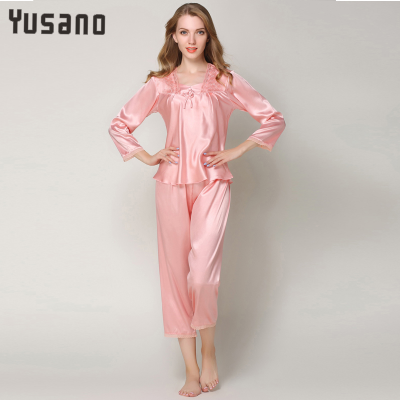 Autumn Women Satin Pajama Sets Long Sleeve Lace Sleepwear Set Two-pieces Plus Size Pijam ...