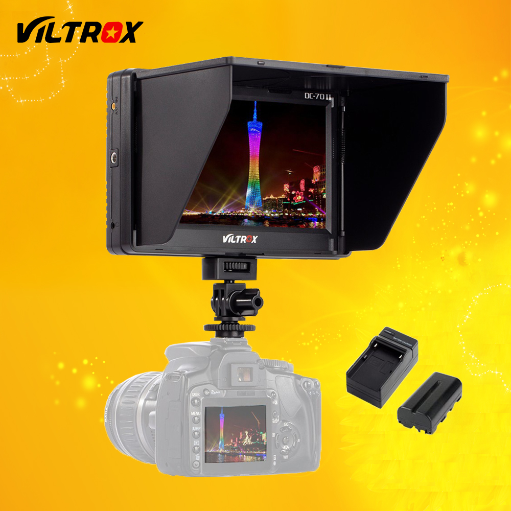Viltrox 7 '' DC-70 II Clip-on HD LCD HDMI AV Ingresso Video Monitor del monitor e batteria e caricatore per Canon Nikon DSLR BMPCC