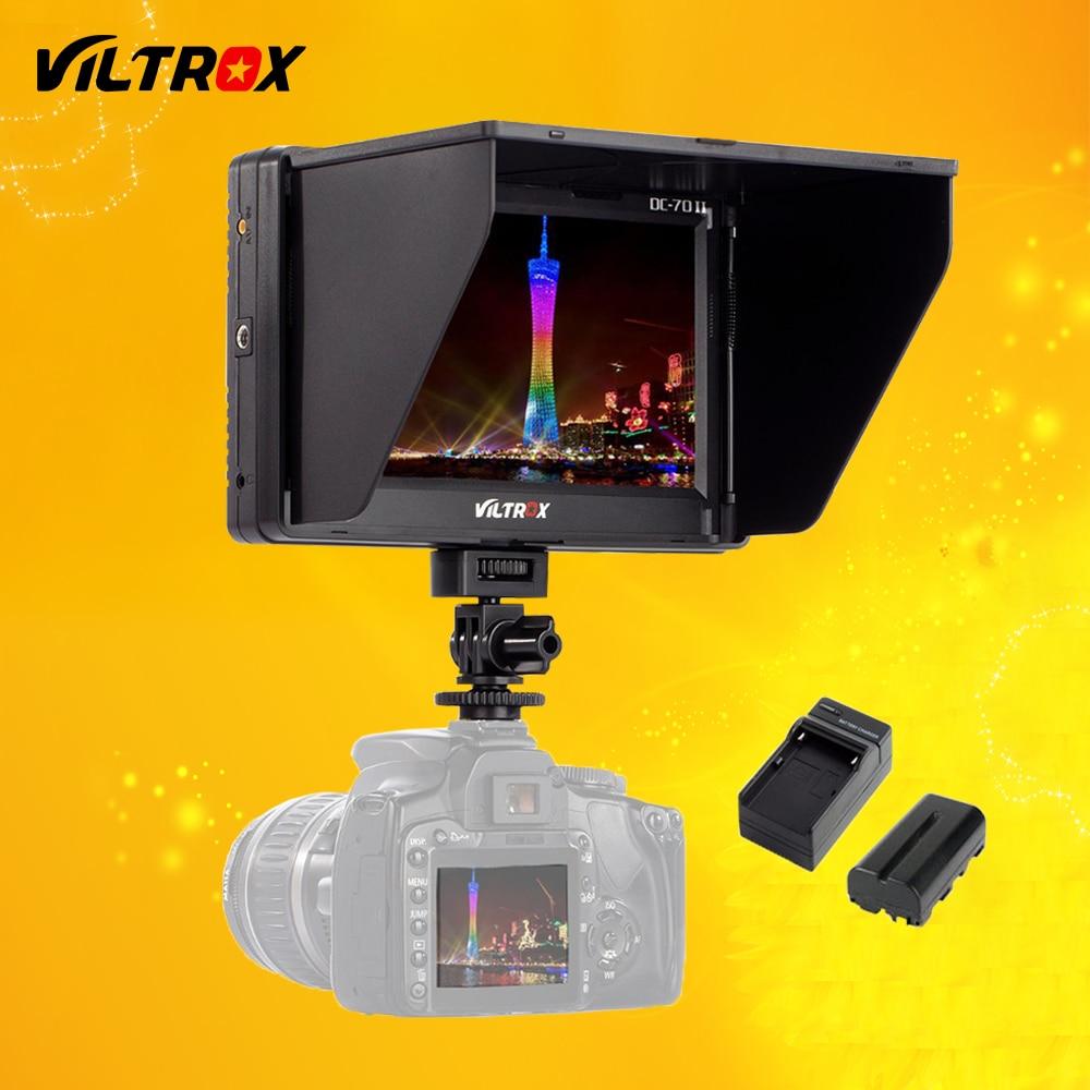 Viltrox 7 ''DC-70 II Clip-sur HD LCD HDMI AV Entrée Caméra vidéo Moniteur Affichage et Batterie et Chargeur pour Canon Nikon DSLR BMPCC
