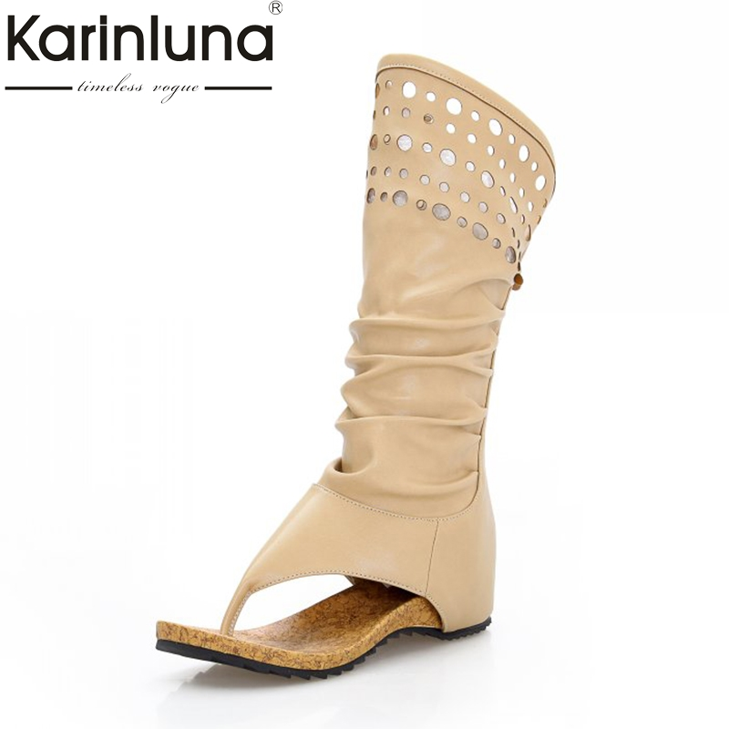 Karinluna Top Quality New Arrivals mid-calf Boots Women Shoes Woman Summer Boots Fashion Height Increasing Women Footwear double buckle cross straps mid calf boots