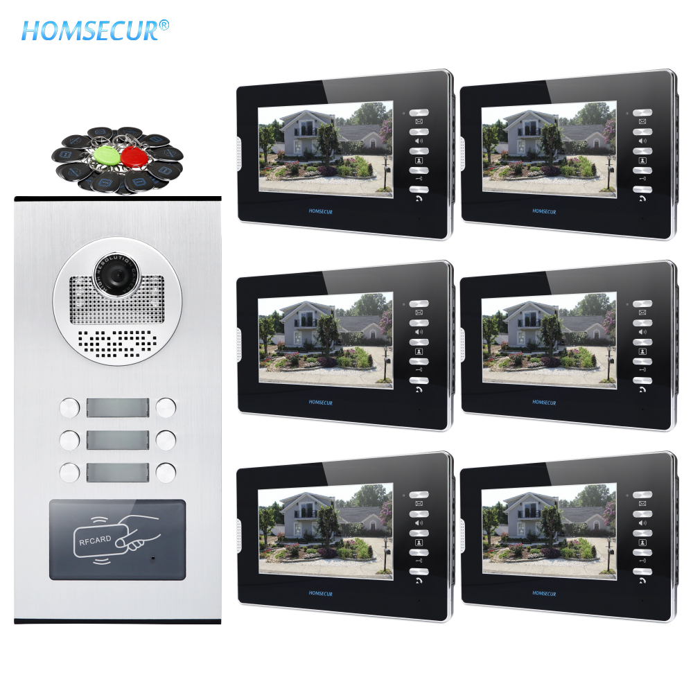 """HOMSECUR 7"""" Wired Video Secure Doorbell Intercom With Outdoor Monitoring For 6 Families XM702 B + XC111 6