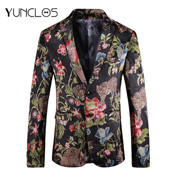 YUNCLOS Flower Printed Men's Blazer Wedding Party Slim Fit Suit Jackets High Quality Perform Suits Blazer Jackets for Men