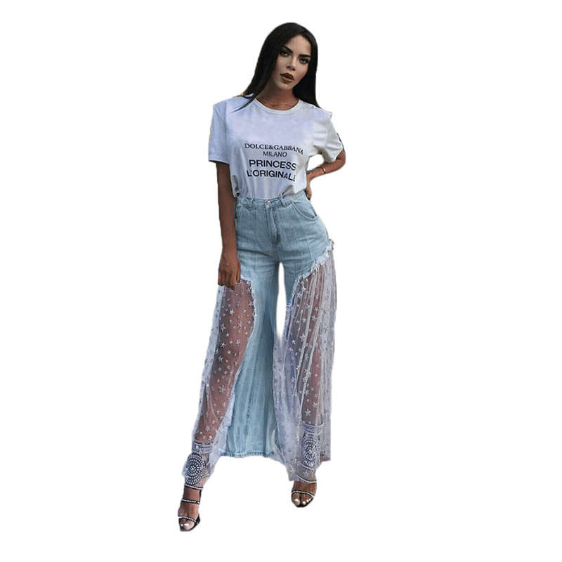 Women's New Trousers Personality Stitching Five Pointed Star Mesh Splice Raw Jeans Stars Perspective   Wide     Leg     Pants   Femme Plus