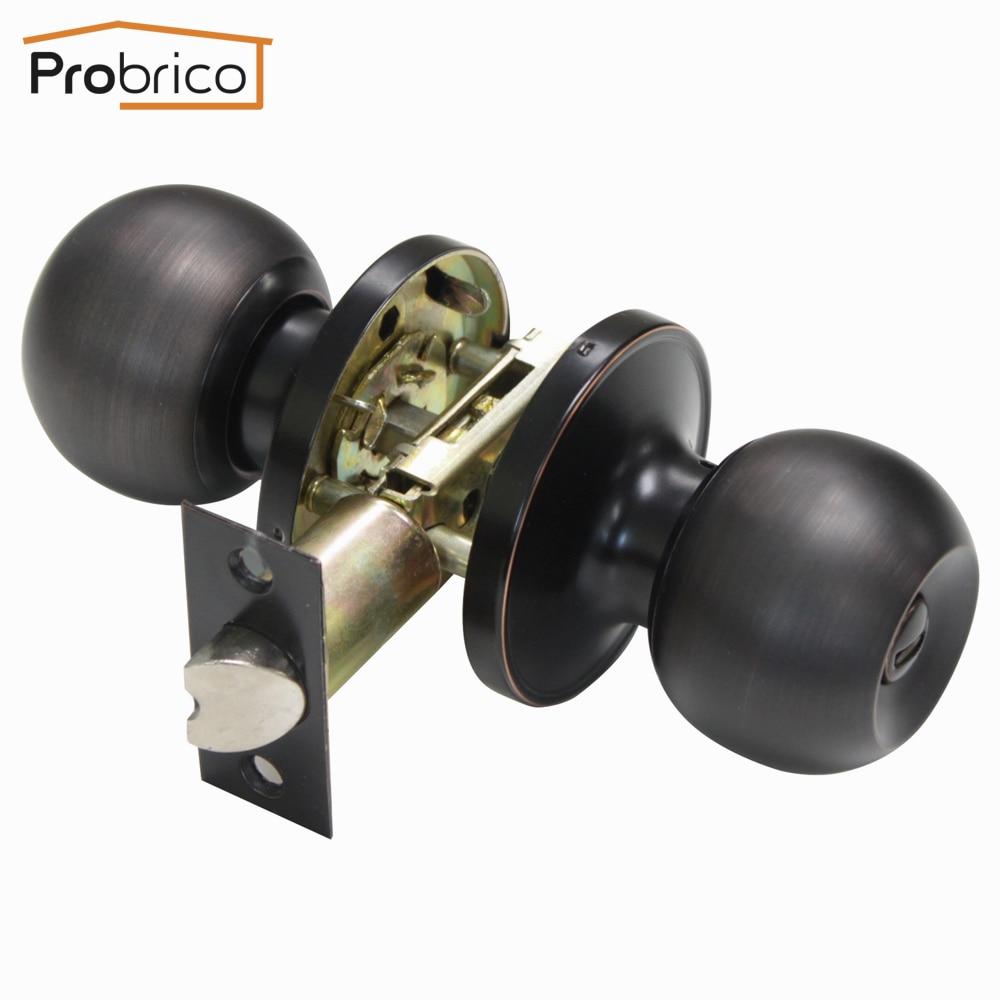 Probrico Stainless Steel Privacy Door Keyless Lock Knobs Oil Rubbed Bronze Bathroom Door Handle DL607ORBBK
