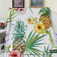 Blankets Warmth Soft Plush Tropical Plant Fruit Pineapple Flower Sofa Bed Throw a Blanket Thick Thin Cobertor Plaid