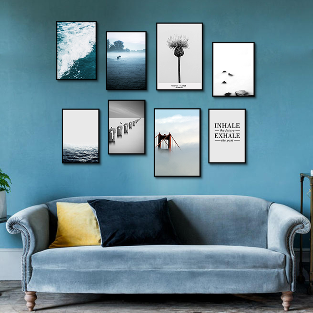 Unframed Multiple Pieces HD Canvas Nordic Portraits Landscape Text Picture Decorative Paintings Living Room Mural Free Shipping