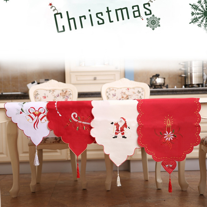 Christmas New Year Embroidery Table Runner Hollow Flag Ornaments Dining Table Dust Cover For Xmas Party Banquet Decoration