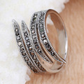 Sz 6-9 Plume Shape White Gold Filled AAA Black CZ Women Ring Gift  Gift Bridal Wedding  Engagement  Ring Free Shipping