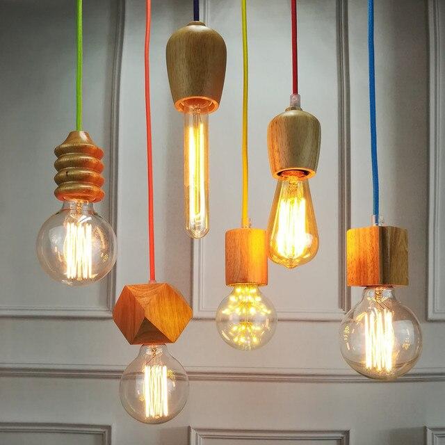 Vintage pendant light oak wood retro lamp color wire e27e26 vintage pendant light oak wood retro lamp color wire e27e26 socket wood lampholder hanging mozeypictures Choice Image