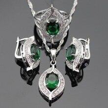 Sistemas de la joyería de Plata de Color Verde Esmeralda Creado Esmeralda Blanco Pendientes/Colgante/Collar/Anillos Caja De Regalo Libre en China