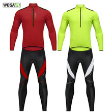 WOSAWE Spring Summer Men Cycling Clothes Sets 4 Color Pullover Sweatshirt Gel Reflective Jersey Pants Suit Bike Bicycle Clothing