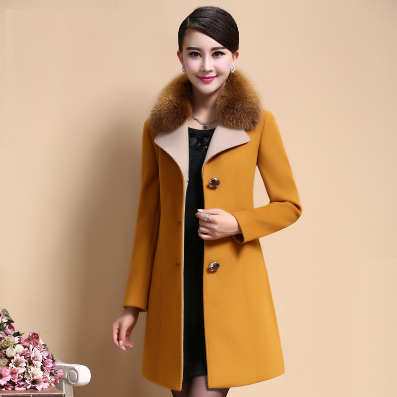 d87820b7569 Women s Winter Coats 2017 Vintage Elegant Winter Coat Female Wool Coat Long  Slim Faux Fox Fur Collar Plus Size M 4XL HJ336-in Wool   Blends from Women s  ...