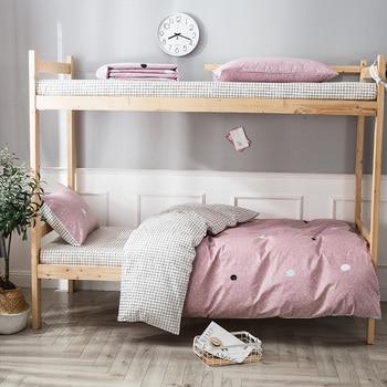 Pink point bed duvet cover 3 piece set single bed 150 * 200cm bedding bedding 100% cotton bed linen set pillowcase bedding